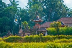 Bali, Indonesia, 2019. Small buddhist temple in tropical area