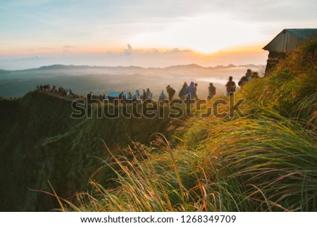 Bali landscape in Bali, active rest,vacation,holiday,repose, dawn on the volcano Batur in Indonesia, trekking to the volcano in Asia