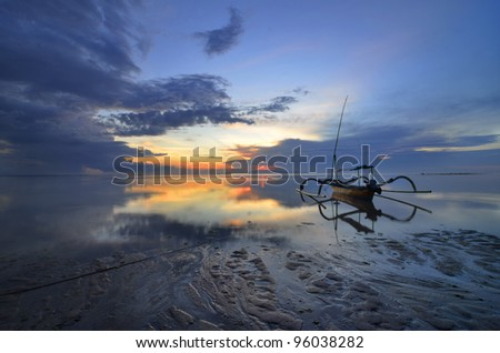 Bali Sanur Beach at dawn - stock photo