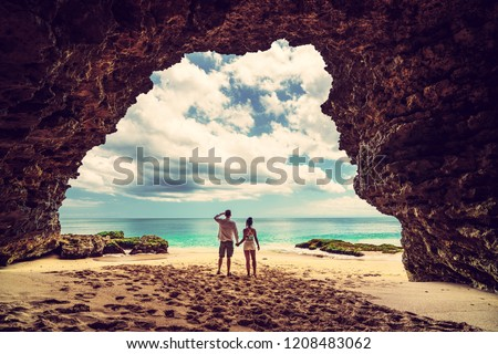 Bali seascape with huge waves at beautiful hidden white sand beach. Bali sea beach nature, outdoor Indonesia. Bali island landscape. Summer holidays at ocean beach. Travel vacation in Indonesia beach