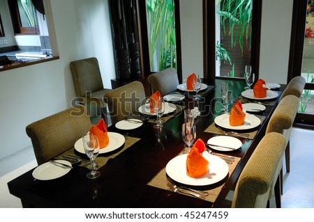 Bali style dining table - stock photo