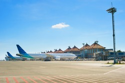 Balinese airport in a bright sunny day. Bali island, Indonesia