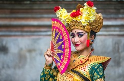 balinese dancer in traditional outfit