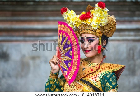 balinese dancer in traditional outfit ストックフォト ©