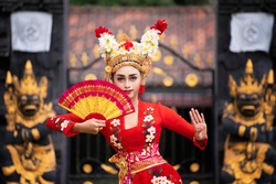 Balinese girl performing traditional dress in bali, indonesia