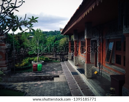Balinese House Building Architecture And The Front Yard At Buddhist Monastery North Bali, Indonesia