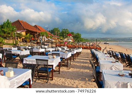 Balinese Jimbaran beach famous for it's perfect sea food restaurants