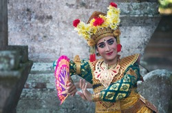 balinese legong dancer in traditional outfit in Bali, Indonesia