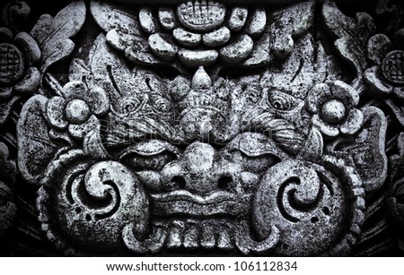 Balinese  monster on the wall, Bali, Indonesia