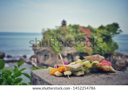 Balinese offerings on a stone