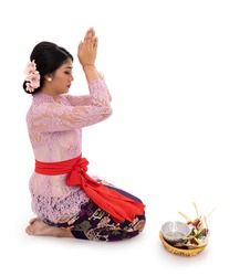 Balinese women wearing traditional clothes when pray according to Hinduism