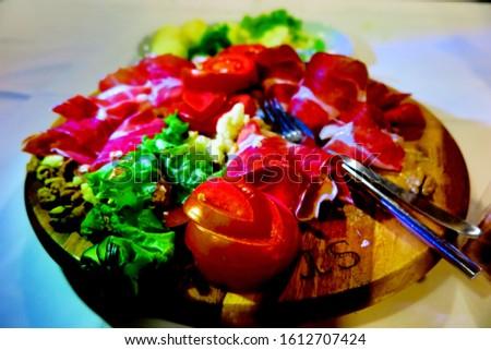 Balkan Cuisine - Mediterranean Cuisine Dry Meat Prosciutto Tomato Grilled Salad Appetizer Delicatessen