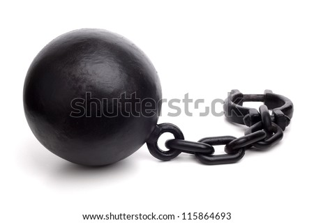 Ball and chain isolated on a white background