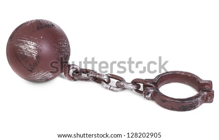 ball and chain over white background