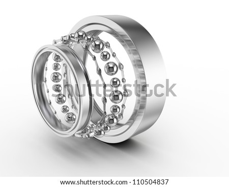 ball bearing parts isolated on white background. 3d render