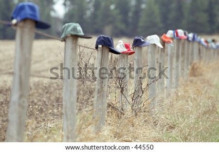 ball caps on fence posts