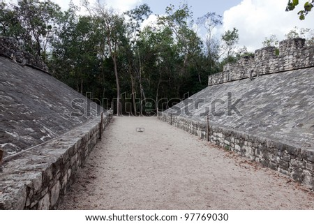Ball Court in the ancient Mayan city of Coba, Mexico