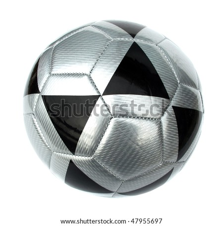Ball football soccer silver and black isolated on white