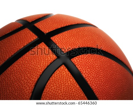 Ball for basketball of orange color isolated on white background