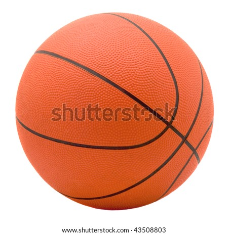Ball for game in basketball of orange colour isolated on white background