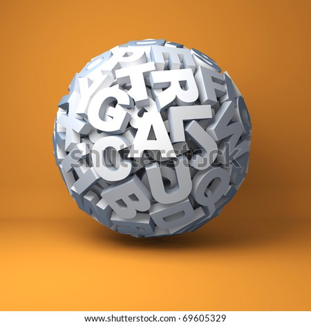 Ball from letters on an orange background