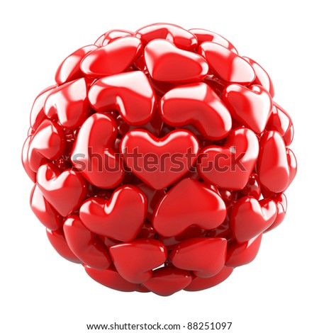 Ball from red hearts isolated on white