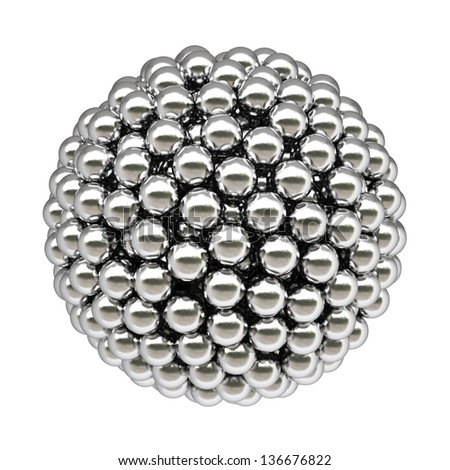 ball from silver balls. Isolated on white.