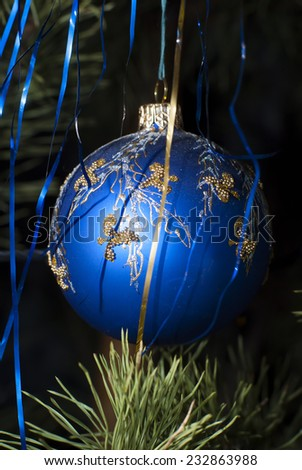 Ball hanging on a Christmas tree. New year.