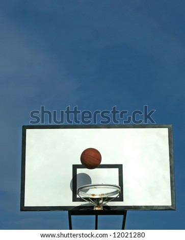 ball in basket in old basketball table - sport symbols
