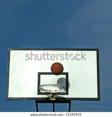 ball in basket in old basketball table - sport symbols - square format