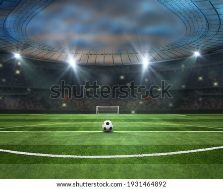 Ball in green field in soccer stadium. ready for game