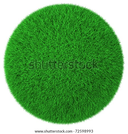 Ball made of green grass isolated on white background