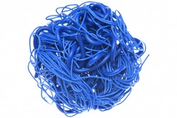 Ball of blue cables isolated on white background