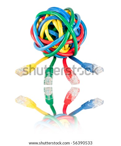 Ball of Brightly Multi Colored Network Cables and Plugs with Reflection Isolated on White Background. Ball of of coloured RJ45 Wires