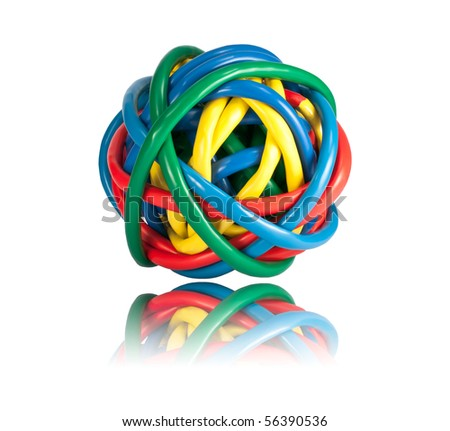 Ball of Brightly Multi Colored Network Cables with Reflection Isolated on White Background. Ball of of coloured Wires