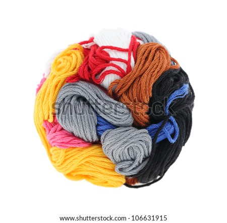 ball of colorful thread isolated on a white background