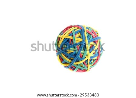 Ball of colourful rubber bands