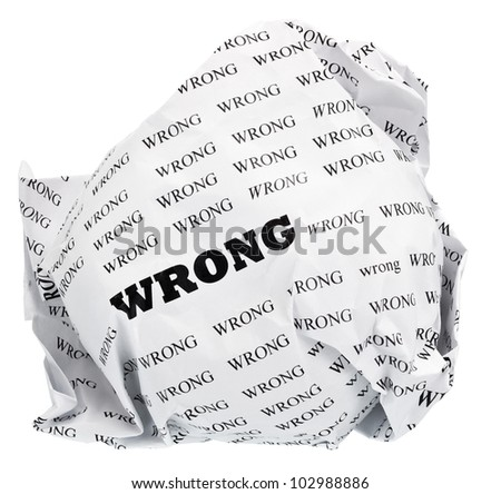 ball of crumpled paper with conceptual text. Isolated with clipping path, expanding the zone of focus achieved by picking out a few photos