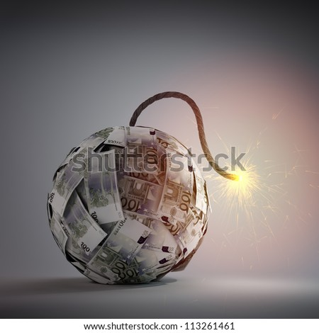 Ball of Euro bills shaped like an old bomb - government debt and financial crisis concept