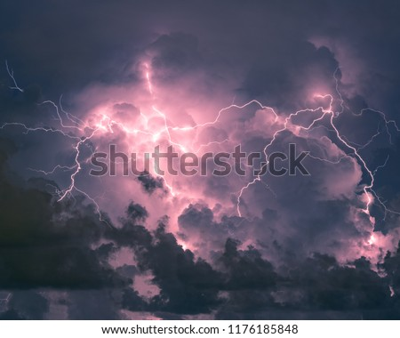 Ball of lightning with clouds