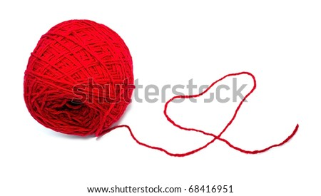 Ball of threads made the red heart