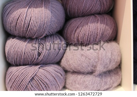 Ball of wools from cotton and mohair in lavender.