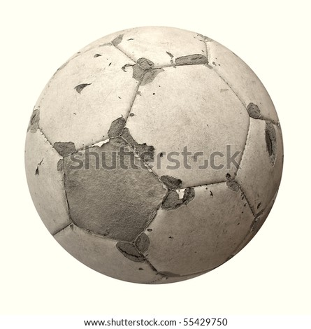 Ball old used white for soccer or football