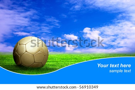 Ball on the field of stadium with blue sky and sample text