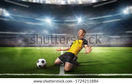 Ball on the green field in soccer stadium. Professional Soccer P