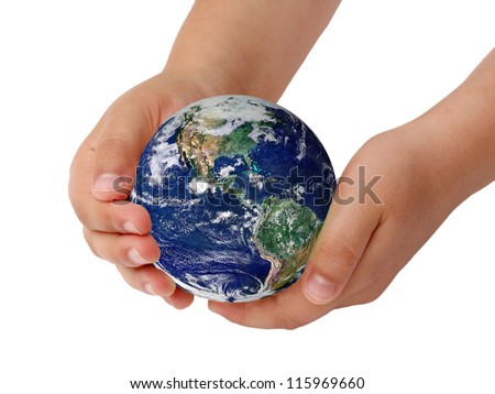 ball planet in the hands of children. Elements of this image furnished by NASA
