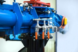 Ball valve on the water pipe. Gate valve. Control valve. Shutoff fittings. Regulation of water flow. Water supply.