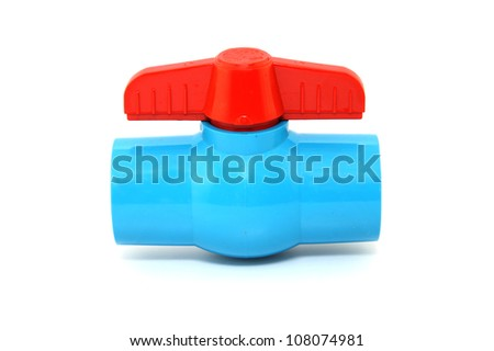 ball valve Plastic on white background