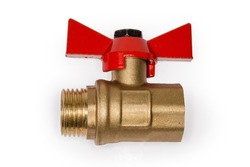 Ball valve with brass body and red butterfly handle on a white background, side view