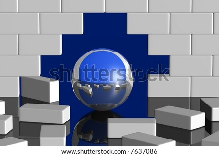 ball with mirror surface breaking through a white wall